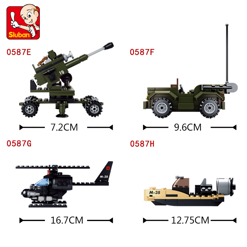 Sluban 8 in 1 Model building kits compatible with lego Military tank 3D blocks Educational model building toys hobbies<br>