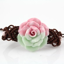 handmake colorful Rose vintage bracelet porcelain jewelry pretty accessories free shipping China brand name kongfuinhands