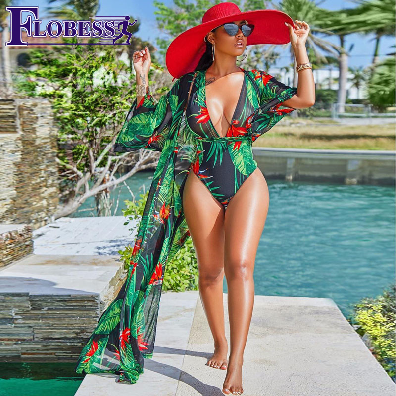 2018 Summer Women Bikinis Set Chiffon Three Quarter Sleeve Printed Cross Bandage Beach Sexy Swimsuit Cardigan Cover Bodysuit