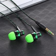 3.5mm In-Ear  Wiring Subwoofer Headset Ear Braided Rope Wire Cloth Rope Earplug Noise Isolating Earphone for MP3 MP4