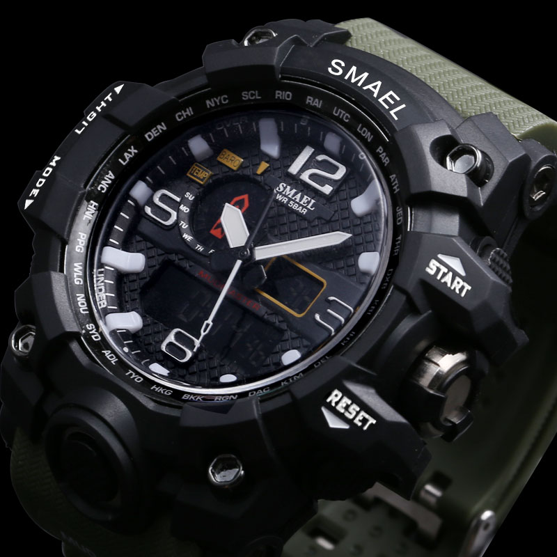 SMAEL Brand Waterproof Watch Men montre Sport Analog Quartz Watch Dual LED Digital Electronic Watches Relogio Masculino<br>