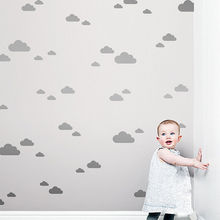 56pcs/set White Clouds Wall Stickers Big Size Clouds with mini clouds Wall Stickers For Kids Room Nursery Wall Art Mural D901(China)