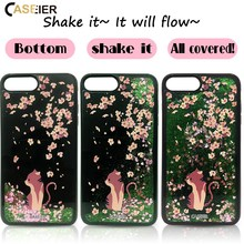 CASEIER Quicksand Liquid Phone Case For iPhone 6 6s Plus Bling Glitter Sand Cover For iPhone 6 6s Plus 3D Painting Cat Case Capa(China)