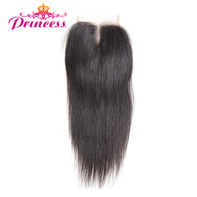 Beautiful Princess Peruvian Straight Hair Lace Closure 4X4 Middle Part Closure Natural Black Color Non-remy Hair 100% Human Hair(China)