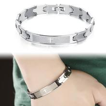 Holy Bible Cross Link Chain Bracelets Religious Stainless Steel Cool Men Bicycle Motorcycle Sporty Classical Jewelry GS761(China)