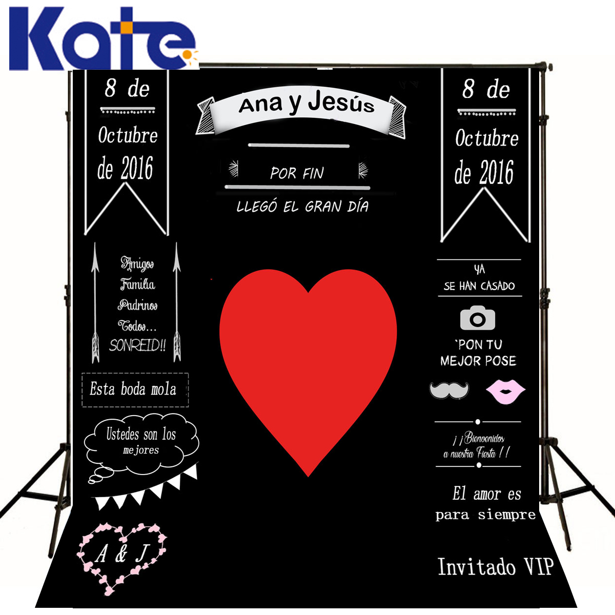 Kate Custom Wedding Blackboard Background Red Heart Can Add Name Symbol Date Change Customise size made fotostudio photocall<br>