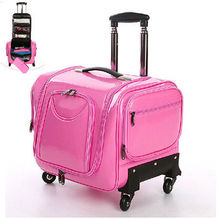Professional Aluminum Makeup Case With Peminum PU Leather Aluminum Trolley Cosmetic Case Makeup Bag