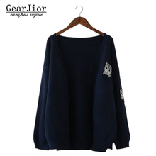 2017 New Women's Autumn Spring Middle Sections Casual Cardigans Woman Solid Cut Cat Embroidery Knitting Sweaters Coats Navy Blue(China)
