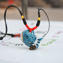 Creative gift Ceramics necklace Goldfish modeling,Chinese characteristics christmas gift ,Chinese style Beaded Accessories(China)