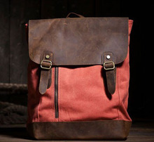 Classic vintage canvas leather backpack crazy horse with flap cover orange Big capacity zise backpack bag for men and women old