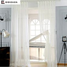 Lynn white voile tulle window princess curtains sheers for livingroom drape transparent process white beige finish size