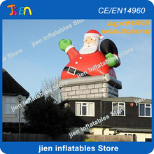 free air shipping to door,13ft/4m giant christmas x-mas decoration inflatable santa claus in chimney on roof(China)