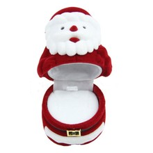 Free Shipping Fashion Cute Ring Earring Necklace Jewelry Box Velvet Valentine Gift Box Santa Claus Cute
