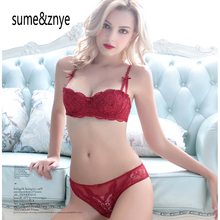 new 2017 summer Intimates women underwear bra set sexy Lingerie half cup padded embroidery red lace bra And Hollow Panties Sets
