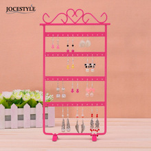 White / Pink / Black 33cm Earrings Display 48 Hole Rack Jewelry Stand Holder Jewelry  Holder Metal Base Case for Jewelry