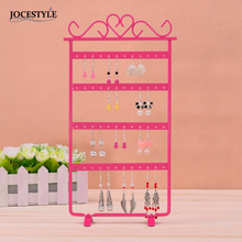 White / Pink / Black 33cm Earrings Display 48 Hole Rack Jewelry Stand Holder Jewelry Holder Metal Base Case for Jewelry(China)