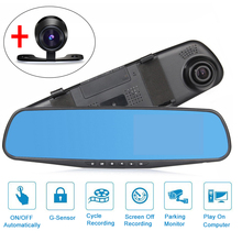 "4.3"" 1080P HD Car DVR Vehicle Dual Lens Anti-glare Blue Mirror Video Driving Recorder Wide Angle Dash Cam(China)"