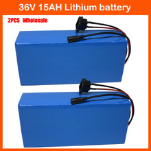 Wholesale 2pcs/lot  500W 36V 15AH Lithium ion battery 36V 15AH Electric Bike battery pack with PVC case 15A BMS 42V 2A charger