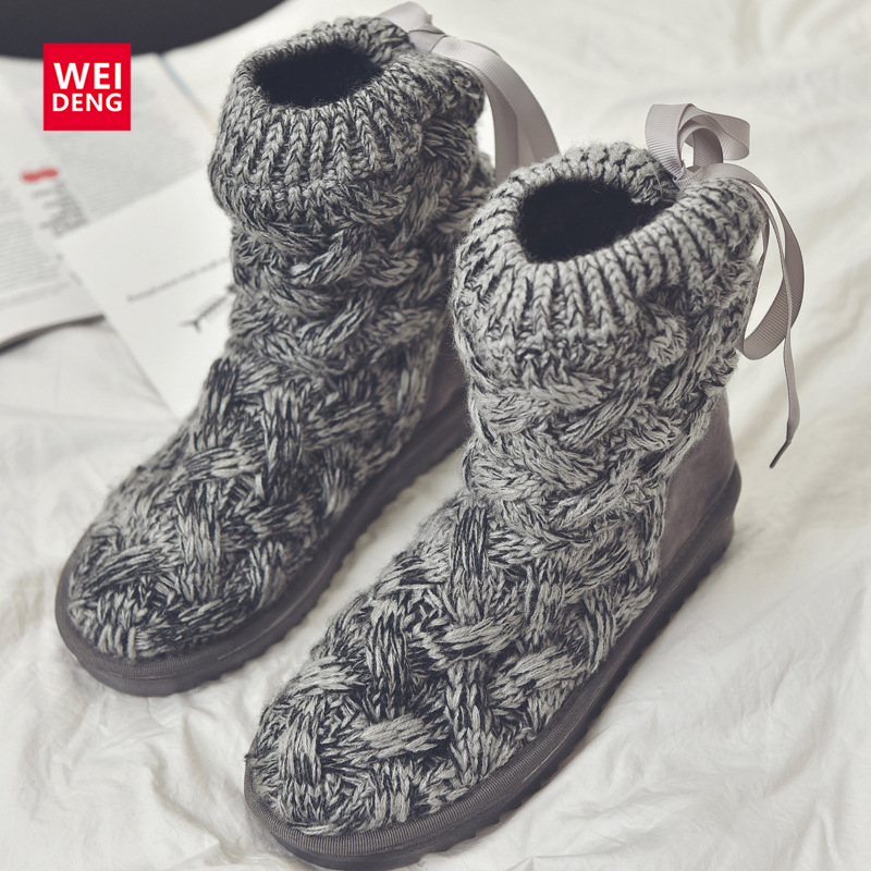 Women Ankle Snow Boots Knitting ugs Australia Winter Casual Cotton Femal Soft Top Warm Shoes Straps Platform<br><br>Aliexpress