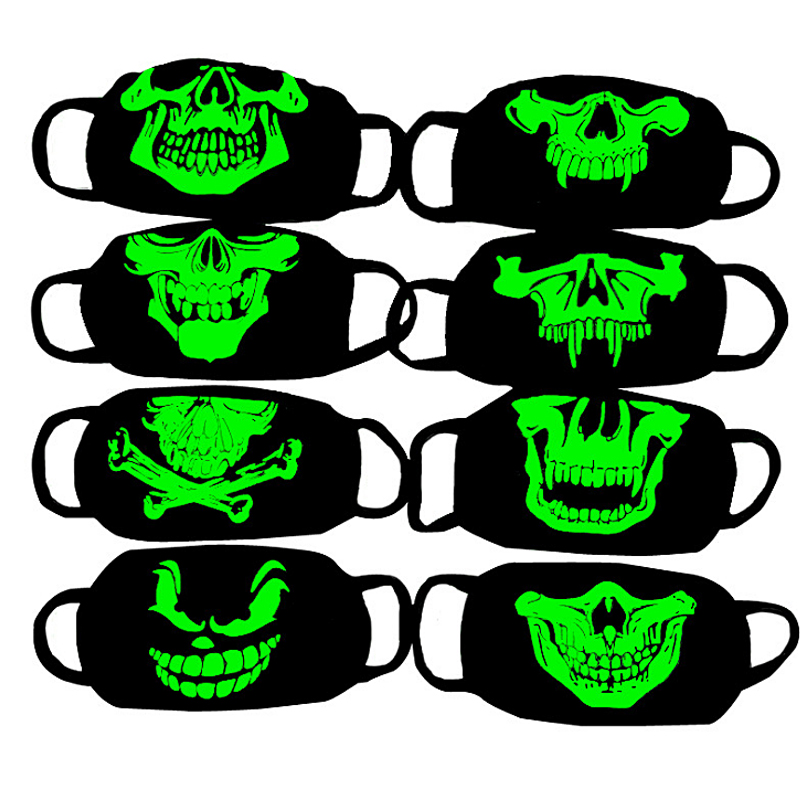 LNRRABC Trendy Anti Haze Mask Respirator Health Cycling Luminous Skull Print Mouth Face Mask Anti-dust Women Fashion Face Masks
