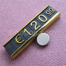 Magnet Metal Frame Combined Price Tags, apparel suit coat garment jewelry numeral cubes shelves wall display window alloy signs
