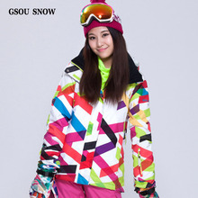 GSOU SNOW NEW Double Plate Snowboard Clothing Ladies Style New Waterproof Windproof Plaid Ski Suit Super Thick Warm Ski Jacket