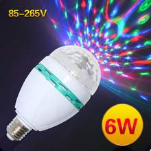 Hot Style E27 6W AC85-265V Led Bulb Lamp Colourful RGB Spot Light Auto Rotating Lighting for KTV/Bar/Disco Decor Lighting 1PCS