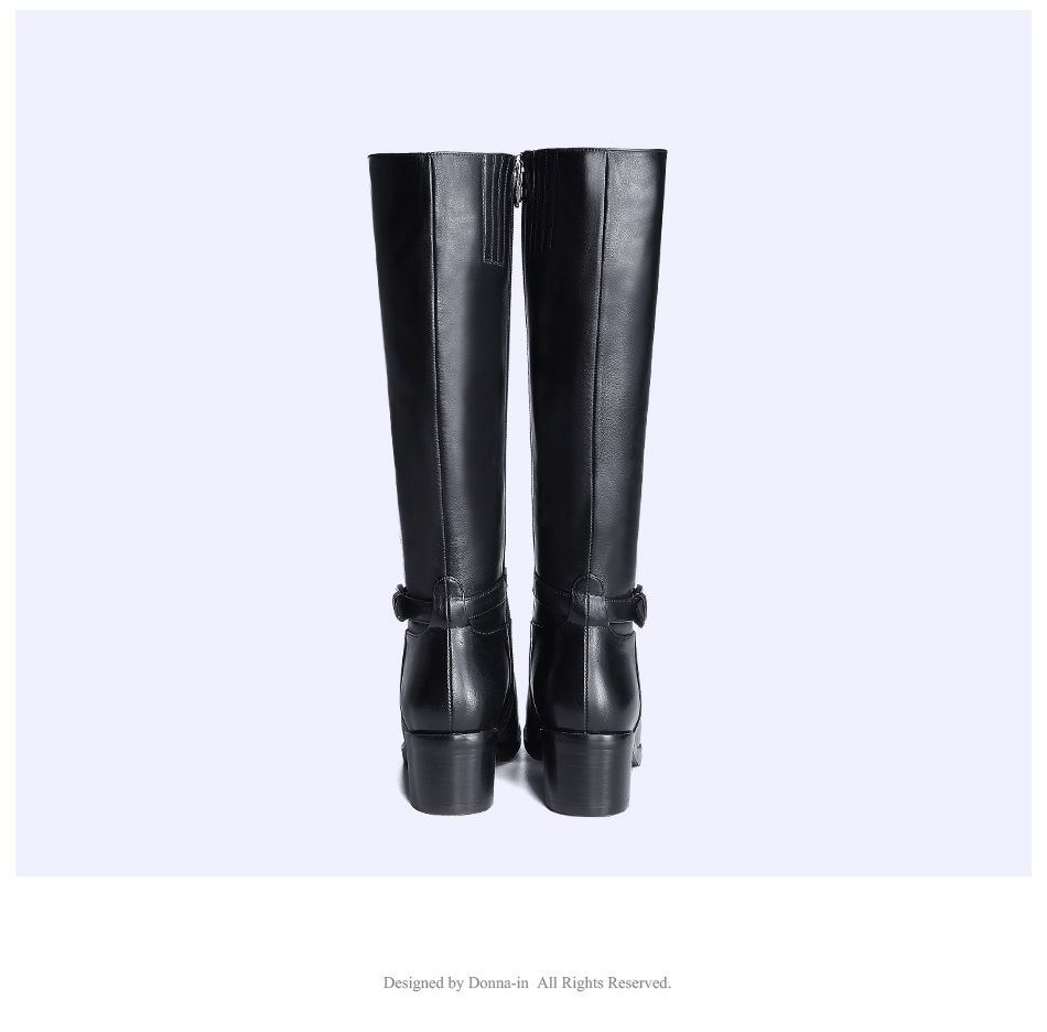 Donna-in Winter Boots Women Fashion Fur Warm Boots New Knee High Boots Real Leather Women Shoes Round Toe Heel Black Ladies 2018 (11)