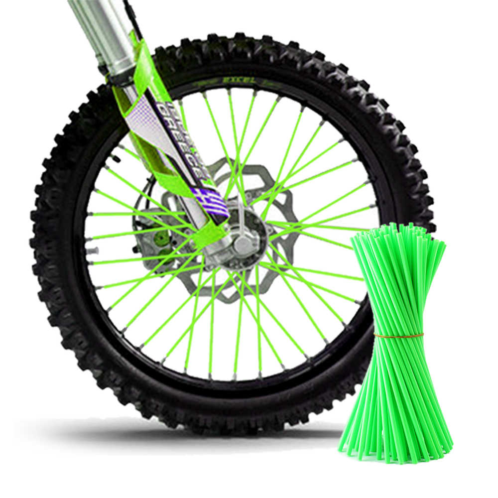 Green 72Pcs Motorcycle Dirt Bike Spoke Covers Coats Fits for Suzuki Honda Yamaha Kawasaki KTM Decor Protector