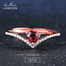 LAMOON Fine Jewelry Womens Body Rings Love Heart Red Garnet Ring 925 Sterling Silver Natural Gemstone Ring For Girls Wedding(China)