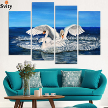 Free shipping two swans canvas paintings for sale new fashion decoration animal oil painting printed on canvas D036