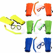 4 Colors Swimming Kit Diving Mask Breathing Tube Fins Water Sports Diving Rubber Security Children diving PC rubber
