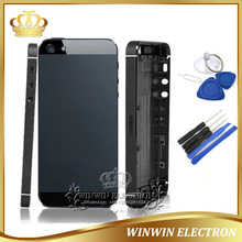 5 PCS/Lot 100% Perfect Rear Door Back Cover for iphone  5 Housing Middle Frame with Card Tray+Buttons+Tools Free Shipping