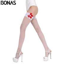 BONAS Fishnet Stay Up Stockings Women Summer Style Sexy Nylon Thigh High Knee Socks Solid Color Design White Thin Plus Size(China)
