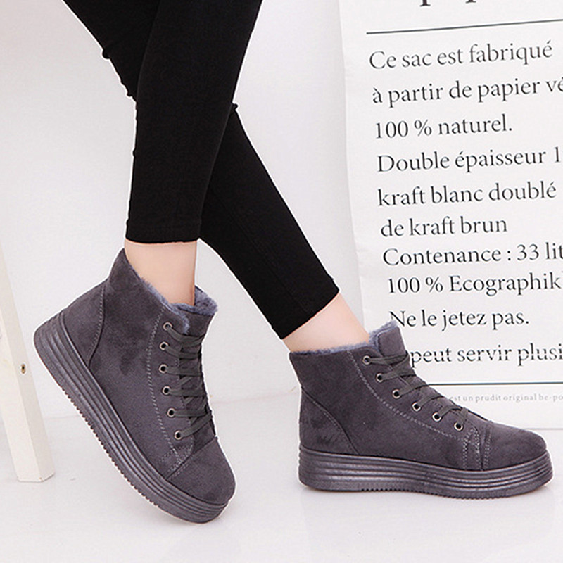 Martin boots Girls Suede Snow Boots Female Winter Shoes Plush Botas Mujer Warm Winter Motorcycle Boots For Women Ankle Boot Snow<br><br>Aliexpress