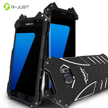 R-JUST BATMAN Series Luxury Doom Heavy Duty Armor Metal Aluminum Mobile Phone Case For Samsung Galaxy S6 S7 edge plus note 5 Bag