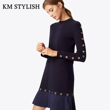 2017 New Autumn Fashion Women Solid O-neck Sexy Cutout Slim Casual Pleated Dress For Female(China)