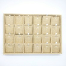 24 lattice Linen Jewelry Display Tray Necklace Holder Pendant Storage Box Ring Earring Case Bracelet Organizer Bangle Showcase