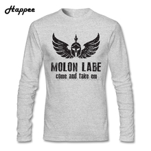 Come And Take Em Molon Labe T Shirts Men Spartans Tees 100% Cotton Long Sleeve Spartan Helmet T-shirt Adult Clothing Tops(China)