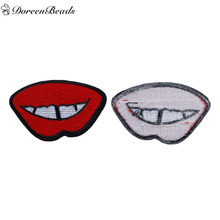 DoreenBeads 3PCs Polyester Patches Appliques DIY Scrapbooking Craft Lip White Red Clothes Bags Jeans Decoration 7.3cm x 4.8cm