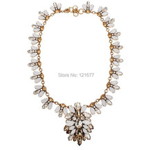 Luxury Fashion Statement Glass Leaf Bib Necklace Grey Fringe Pendant  Costume Jewelry Christmas Gifts N0126