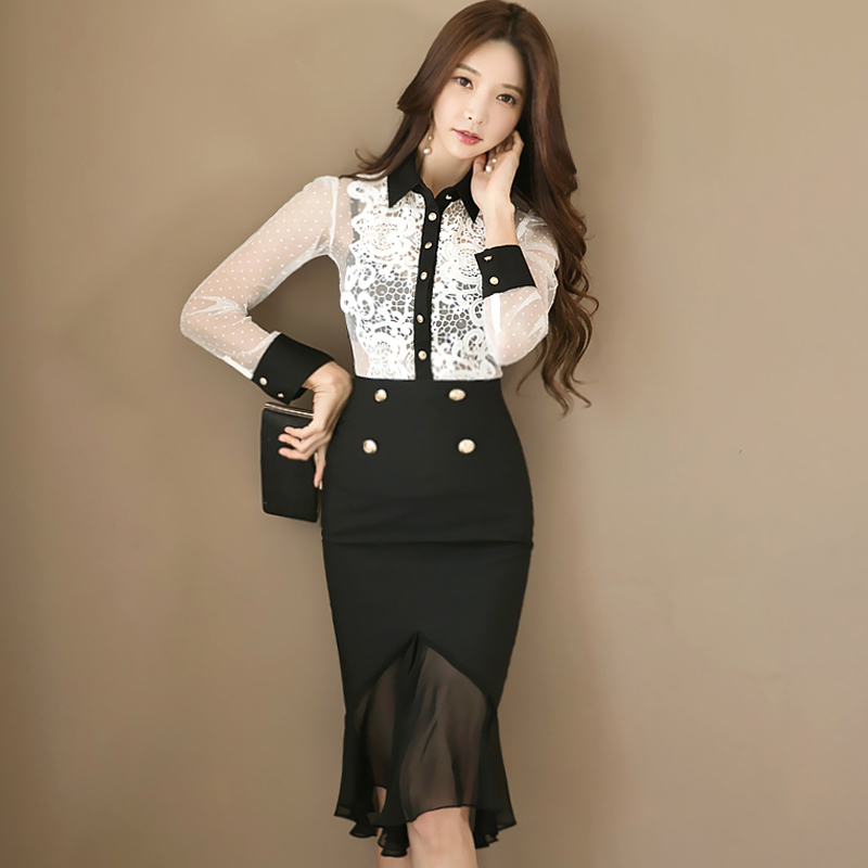 2018 Autumn See Through Sexy Lace Blouse Chiffon Patchwork Black Bodycon Skirt Two Piece Work Suit Dress