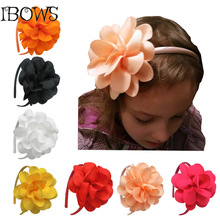 Children Girls Ribbon Big Flower Bow Hairbands Hairwear Tiaras Hoop For Hair Girls Head Bands Accessories(China)