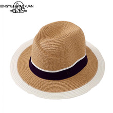 BINGYUANHAOXUAN 2017 New Women's Hat With Large Floppy Derby Retro Black and White Hat Large Summer Beach Sun straw hat(China)