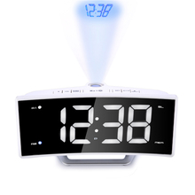 Arc Radio Projection Alarm Clock Desk Large LED Mirror Display Electronic Digital Luminous Table Clocks USB Charging Function