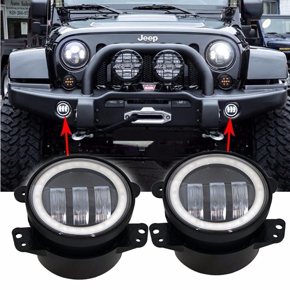 2pcs 4 LED Chips Car Fog Lights 12V/24V Cool White 6500K For Jeep Wrangler Dodge Magnum Chrysler Dodge Journey<br><br>Aliexpress