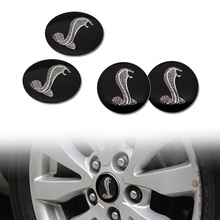 4x 56.5mm 3D Cobra Car Auto Steering Wheel Center Hub Cap Emblem Badge Stickers for Ford Mustang Shelby