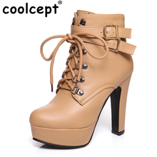 Coolcept Women Ankle Boots Cross Strap Zipper Buckle High Heels Shoes Women Platform Fashion Ladies Daily Footwear Size 32-43(China)