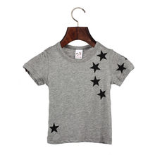 2017 Hot Selling Cheap Baby Handsome Boy Gray Clothes Summer Children Boy Kids Cotton Star Short Sleeve Tops O Neck T Shirt Tees
