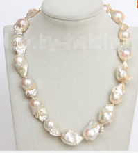"luster 18"" 27mm pink-golden Reborn keshi pearl necklace filled gold clasp j10686 Factory Wholesale price Women Giftword Jewelry"